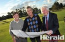 Colac RSL's Ian Morgan, Colac Golf Club's Murray McCoombe and Colac Turf Club's Jim Ryan examine plans for a $3.5-million redevelopment.