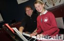 Piano teacher David Stewart and Sacred Heart Primary School's Lisa Phillips prepare for tomorrow's Colac Eisteddfod.