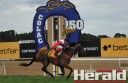 Jockey Dean Yendall rides Chord to victory at the $50,000 Colac Gold Cup at Colac Turf Club yesterday.