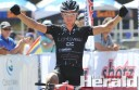 Kona Odyssey 100-kilometre ride winner Chris Jongewaard crosses the finish line at Forrest Recreation Reserve,