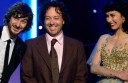 Former Colac district resident Francois Tetaz, centre, accepts a Grammy with Gotye and Kimbra.
