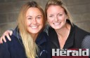 Former netball teammates Emma Monteith, left, and Katie McDougall will run a half marathon this weekend.