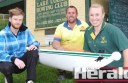 Colac Rowing Club members, from left, Tom O'Connor, Alex Heaton-Harris and Heidi Heaton-Harris will help the club host an open day this weekend.