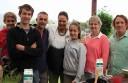 Jack, Billy and Tim McGlade, Zoe Bingley-Pullin, Hannah and Sally McGlade and Adrian Richardson during a Good Chef, Bad Chef filming at the McGlade farm.