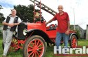 Allan Billing and David Pope with Mr Pope's firetruck, which will feature at Colac's Heritage Festival.