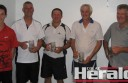 Colac indoor tennis team the Butchers defeated Ball Magnets in a grand final at Colac Indoor Tennis and Sports Centre.  Pictured, from left, are Butchers players Luke and Dean Garner, Mark Robinson, Colin Wilson and Stuart Brien.