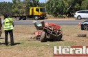 A farm worker died when his quad bike and a truck collided west of Colac.