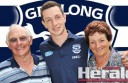 Geelong and former Colac footballer Darcy Lang with grandparents Frank and Joan Lawrence.