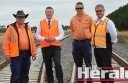Premier Denis Napthine, second from left, with with V-Line's Brian Ure, V-Line's Andrew Reid and VicTrack's Wayne Hoggan.