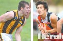 Geelong Falcons pair Josh Cooper, left,, and Lewis Melican will debut at Camperdown on Sunday.