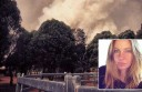 Karen Newman, inset, and the picture she took of fire approaching her property.