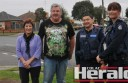 Colac's Wallace Street residents Marg and Kevin Swanson and Colac police officers Leading Senior Constable Pat Wilson and First Constable Kate Busfield.