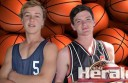Good mates Morgan Fenton, of Demons Lakers, and Saints ANZ's Jack Barrow will become rivals when their teams meet in  the A Grade men's basketball grand final.