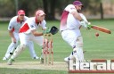 Stoneyford batsman Ricky Bailey made 42 runs in a semi-final against Apollo Bay. He is pictured in front of Apollo Bay wicketkeeper Jack Pascoe.