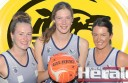 Colac's Geelong Cougars netballers, from left, Riley Stephens, Brooke Allan and Tahlia Jeffreys