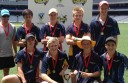 Trinity College Colac's state title-winning cricketers, back from left are, coach Michael Tomkins, Chris Gorwell, Tom McKean, Liam Loubey and Jacob McKenzie, front from left, Dom Dare, Stewart McCann, captain Luke Inglis and Jack Slater.