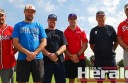 Michael Reid, left, and Steve Mai, right, will coach Colac Braves this season. They are pictured with Essendon Baseball Club members Dean McIntyre, Tom Dicker and Scott and Leigh McIntyre.