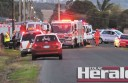 Emergency crews at the scene of a two-car collision in Colac.