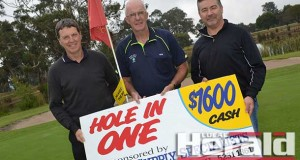 Colac Golf Club president Ed Morrissy, vice president Peter Devine and defending champion Ross Dixon will be among up to 500 people at Colac Golf Club's Easter Tournament.