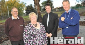 Colac Otway Shire deputy mayor Frank Buchanan, mayor Lyn Russell, planning and building manager Doug McNeill and economic development manager Tony White say Coles' plans to develop land in Bromfield Street is positive for the Colac community.