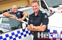 Colac's leading police officers including Senior Sergeant Ken Slingsby, right, and Sergeant Jonathan Parish want motorists to have a safe and happy Easter.