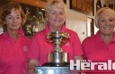 Colac golfers Lorraine Matthews, Merrilyn Sutherland and Jan Borwick won the Birregurra Rose Bowl.