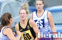 VISION: Colac's Sara Hay looks for a teammate during her team's 30-goal victory against Lara.