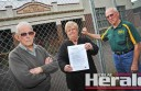 Former Colac High School vice-principal Bill Peel, Colac Otway Shire mayor Lyn Russell and Colac Woodturners and Woodcrafters Guild president Cliff Tann  are disappointed the State Government has formally refused to return the former high school site to the Colac community.