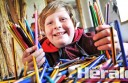 Stonyford's Indi Lammin-Turley, 11, will take 1761 donated pencils on his trip to Fiji tomorrow  to give to underprivileged school children. He will also take other educational items to distribute to children.