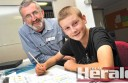 Colac Specialist School teacher Ken Morgan, pictured with student Max McIntyre, has gained national recognition for his dedication to student wellbeing.