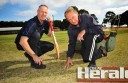 Warrion cricket official Phil Lang and ground curator Eric Hay are behind the club's recruiting drive, which officials hope will help the Panthers field a Division One team again next season.