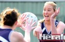 Colac Imperials midcourter Bianca Whitson fires off a pass during her team's comfortable win against Otway Districts.