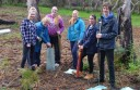 Colac Otway Shire mayor Lyn Russell joined youth councillors, from left, Rachael Richardson, Emma McMaster, Colac Area Health mentor Tabitha Morgan, Emily Beale and Nicholas Lenehan-Anderson at the planting day at Bimbi Park.