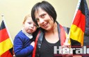 Colac resident Diana Veale, who moved to Australia from Germany seven years ago with her husband Lochie Veale, celebrated her home nation's World Cup soccer victory over Argentina on Monday morning.  Mrs Veale is pictured with two-year-old daughter Amelia.