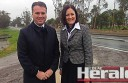 Assistant Minister for Infrastructure and Regional Development Jamie Briggs and Corangamite MP Sarah Henderson visited road work at Winchelsea. Construction on the Princes Highway duplication between Colac and Winchelsea should start in 12 months.