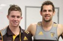 Colac junior footballer Luke Inglis, pictured with Colac AFL export Luke Hodge, will watch Hawthorn players prepare for the club's blockbuster AFL match against Sydney.