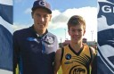 Colac Tigers under-16 footballer Campbell McCrae, right, caught the attention of Geelong AFL player Mark Blicavs for his leadership qualities on the football ground, which led to a day with the club at Geelong's Simonds Stadium during the school holidays.