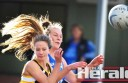 Apollo Bay's Meg Bryant and South Colac's Janelle Monaghan contest for the ball during their match at Joiner Reserve.