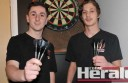 Colac darts players Sam Beall, left, and Tony Frith finished in the top five of a Victorian darts championship. The achievement earned Frith a chance to represent the state at national championships in Queensland in January next year, while Beall is an emergency.