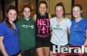 Camperdown netball export Sarah Wall, pictured centre, returned home to host a netball clinic and met Cobden's Amy and Grace Hammond, Sophie Blain and Chloe Gibson.