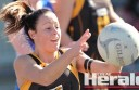 Simpson's Ashlea Spokes keeps her eyes on the ball during her team's loss to South Colac.
