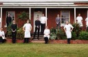 Birregurra's Brae restaurant chef and owner Dan Hunter, centre top step, and his staff have won The Age Good Food Guide Restaurant of the Year Award and a three-hat rating.