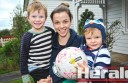 Colac Imperials netballer Stacey Whiteford, pictured with her sons Elijah, 3, and Theodore, 1, says Western Oval has a great family environment for footballers and netballers with young children.