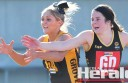 Colac defender Emma Hillman, right, applies pressure to Grovedale's Olivia Wilson during Colac's win.