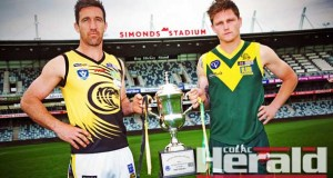 Colac captain Andrew Kelly and his Leopold counterpart Jai Thompson, pictured at Geelong's Simonds Stadium, will lead their teams into this weekend's Geelong Football League grand final. Kelly said he was proud to lead a team made up of homegrown Colac and district footballers.