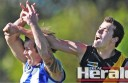 Simpson defender Luke Weel was among the Tigers' best players for his job on South Colac forward Ben Cox. The Tigers earned a spot in their first senior football grand final since 1997, which was in the Heytesbury league.