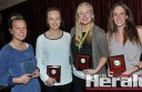 South Colac netballer Nadine McNamara, second from right, broke through to win her first Colac district A Grade netball best-and-fairest award after three runner-up finishes. She is pictured with, from left, Emma McVilly Memorial joint winner Janelle Monaghan and joint runners-up Paige Mason and Brooke Hutchings.