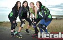 Otway Derby Dolls face their biggest roller derby challenge yet this weekend. Pictured are Katie Learey, who skates as Pocket Rocket, Amie Tupene, aka Legs 11, Katie 'KTnT' Wilkins and Deb Holland, Isa Spartan.
