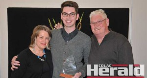 Colac's Matthew Cartwright, centre, was a popular winner of Colac Otway Shire Council's Young Ambassador Award. The Trinity College Colac Year 12 student is pictured with his parents Alison and Stephen Cartwright.