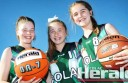 Colac junior basketballers, from left, Zara Walters, Annabelle Arnold and Meg Rippon, have earned selection in a state-wide jamboree.